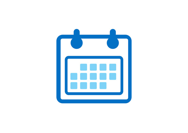 icono intel azul y celeste calendario